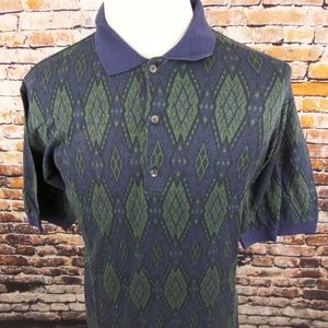 Bobby Jones Golf Polo Shirt Blue Geometric sz L